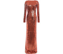 Adela Open-back Sequined Tulle Gown Copper