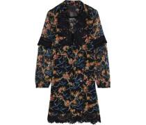 Guipure Lace-trimmed Printed Fil Coupé Silk-blend Mini Dress Black