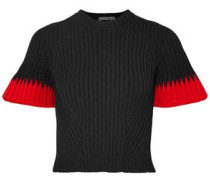 Woman Cropped Ribbed Intarsia-knit Sweater Black