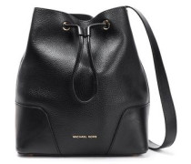 Paneled Smooth And Textured-leather Shoulder Bag Black Size --