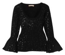 Embellished Stretch-knit Top Black
