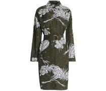 Belted printed cotton-poplin shirt dress