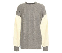 Lace-paneled cable-knit sweater