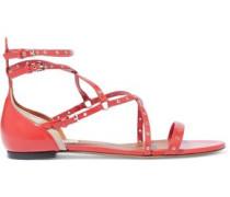 Woman Love Latch Eyelet-embellished Leather Sandals Papaya