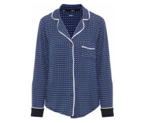 Printed stretch-modal jersey pajama top