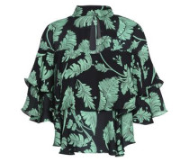 Cutout ruffled printed silk blouse