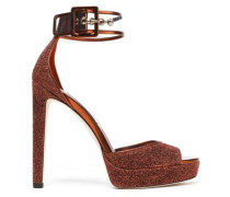 Mayner PVC-trimmed glittered leather platform sandals