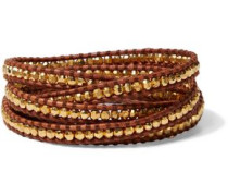 18-karat Gold-plated Sterling Silver And Leather Wrap Bracelet Brown Size --