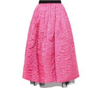 Tulle-trimmed Pleated Crinkled Taffeta Midi Skirt Bright Pink