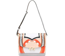 Embossed printed leather shoulder bag