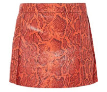Woman Snake-effect Leather Mini Skirt Orange