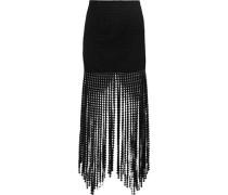 Fringed cotton guipure lace mini skirt