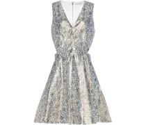 Flared cutout silk-blend brocade mini dress