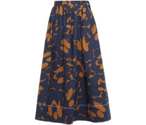 Woman Gathered Printed Cotton-poplin Midi Skirt Navy