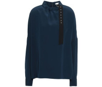 Buckled Silk Crepe De Chine Blouse Navy