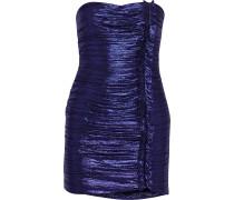 Woman Adrienne Strapless Ruched Lamé Mini Dress Violet