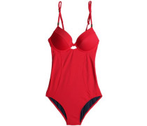 Braid-trimmed cutout underwired swimsuit