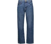 The Original Straight High-rise Cropped Straight-leg Jeans Mid Denim  5