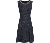 Chain-embellished Tweed Dress Navy