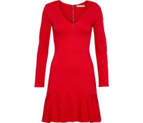Francine Fluted Stretch-knit Mini Dress Red
