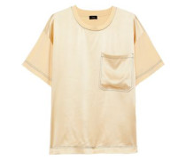 Silk Satin-paneled Cotton-jersey T-shirt Pastel Yellow