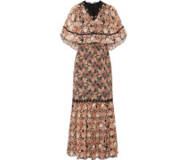 Layered lace-trimmed silk-jacquard maxi dress