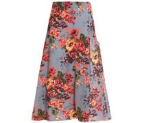 Floral-print georgette midi skirt