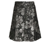 Pleated Brocade Mini Skirt Gunmetal