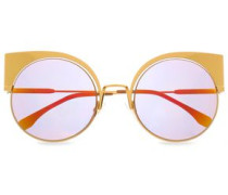 Cat-eye Acetate Sunglasses Gold Size --