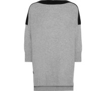Woman Two-tone Cashmere And Wool-blend Sweater Gray