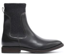 Rib-trimmed leather ankle boots