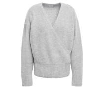 London Wrap-effect Mélange Cashmere Sweater Light Gray