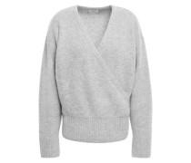 London Wrap-effect Mélange Cashmere Sweater Light Gray