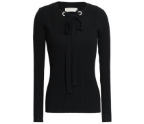 Bow-detailed Ribbed-knit Sweater Black