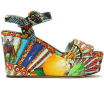 Printed jacquard platform wedge sandals