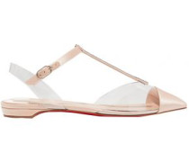 Woman Crystal-embellished Satin And Pvc Point-toe Flats Neutral