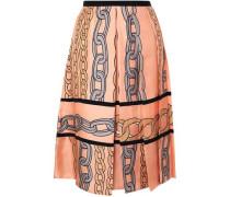 Woman Printed Pleated Silk-twill Midi Skirt Peach