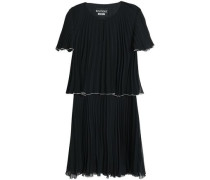 Georgette Plissé Mini Dress Black