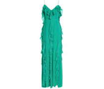 Cold-shoulder Ruffled Silk-chiffon Gown Jade Size 0