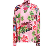 Bow-detailed Printed Crepe Blouse Pink