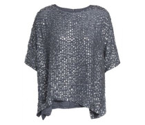 Sequined Woven Top Anthracite