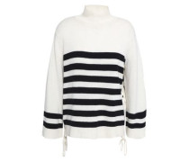 Lantz lace-up striped wool and cashmere-blend sweater