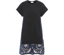 Woman Printed Poplin-paneled French Cotton-blend Terry Mini Dress Black