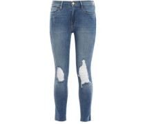 Distressed Faded Mid-rise Skinny Jeans Light Denim  5