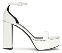 Metallic faux leather platform sandals