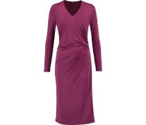 Gathered stretch-satin dress