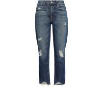 Distressed Faded High-rise Straight-leg Jeans Mid Denim  4