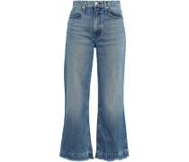 Frayed High-rise Kick-flare Jeans Mid Denim  4