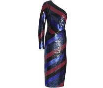 One-shoulder striped sequined silk midi dress