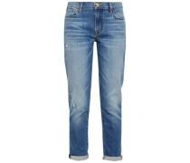 Distressed Faded Mid-rise Straight-leg Jeans Mid Denim  6